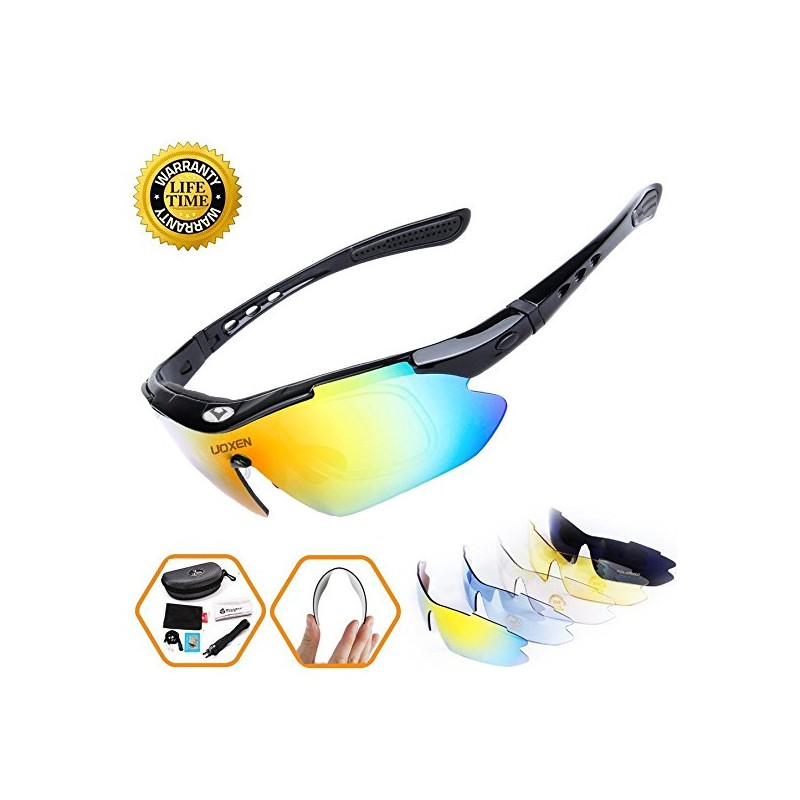 1894ef16e3 Polarized Sports Sunglasses Cycling Sun Glasses For Men Women With 5  Interchangeable Lenes Running Driving Fishing Golf.